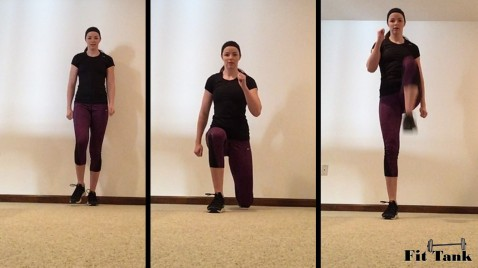 Walking Lunge with Knee Drive 1